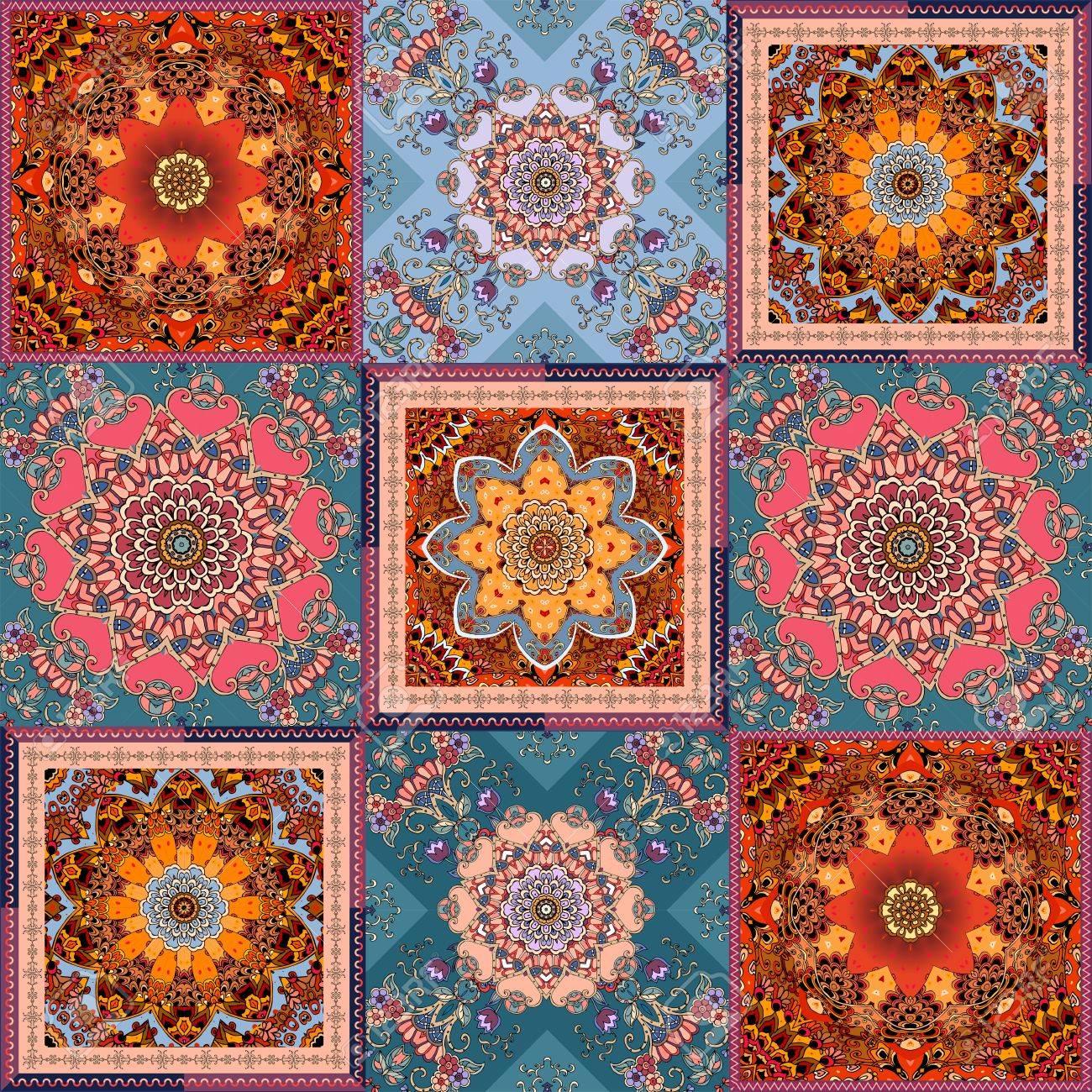 Alfombra Cuadrada nica En Estilo Patchwork Con Mandala Motivos