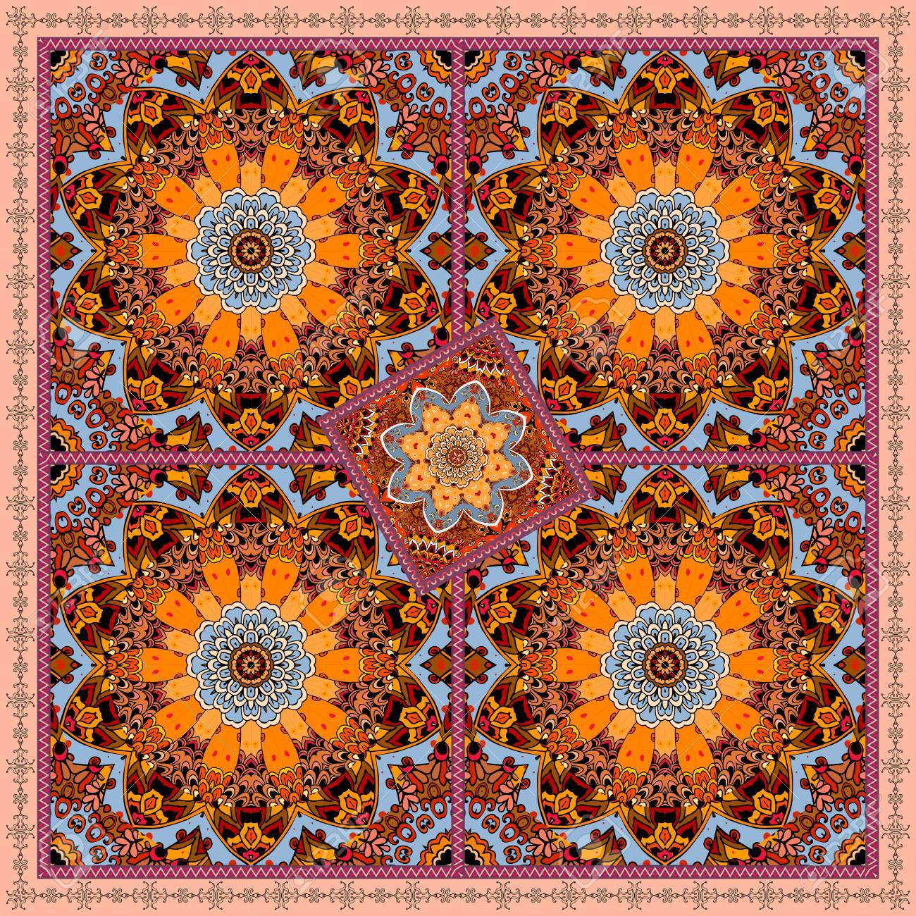 Patchwork Print With Flowers Mandalas. Ethnic Scarf In Indian Style.  Tablecloth, Carpet,