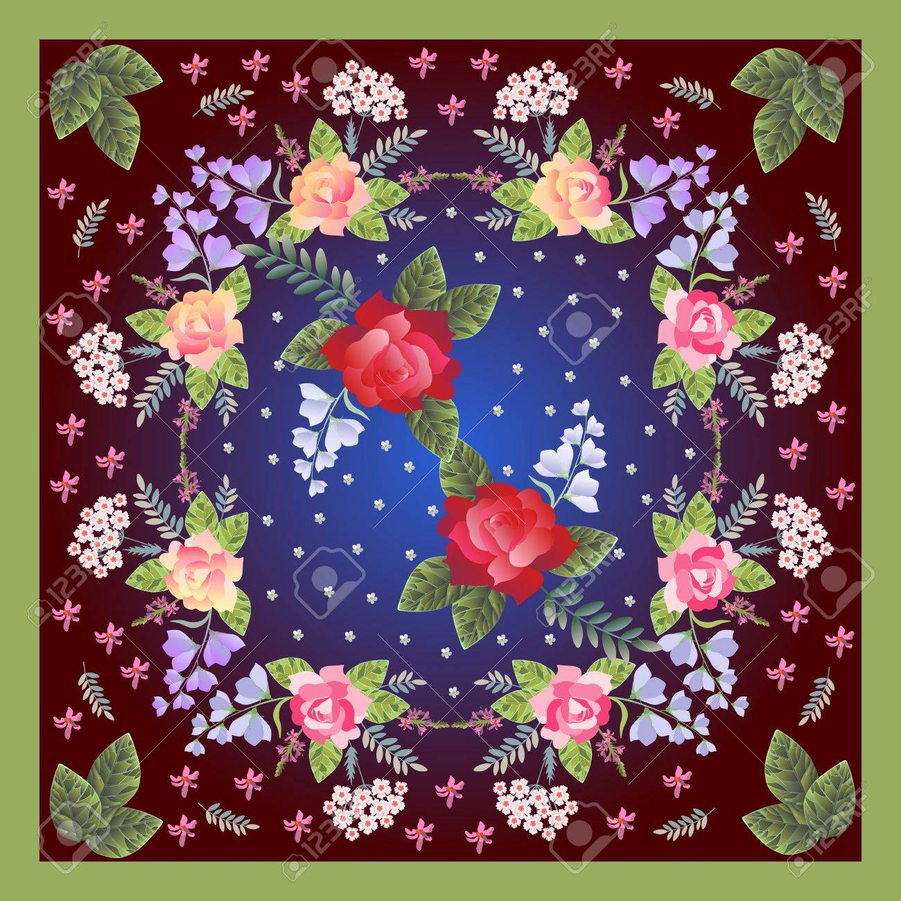 floral bandana print with roses sage turkish carnation and