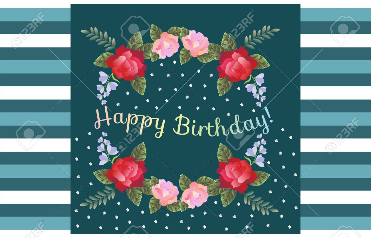 Happy Birthday Greeting Card With Beautiful Flowers On Striped