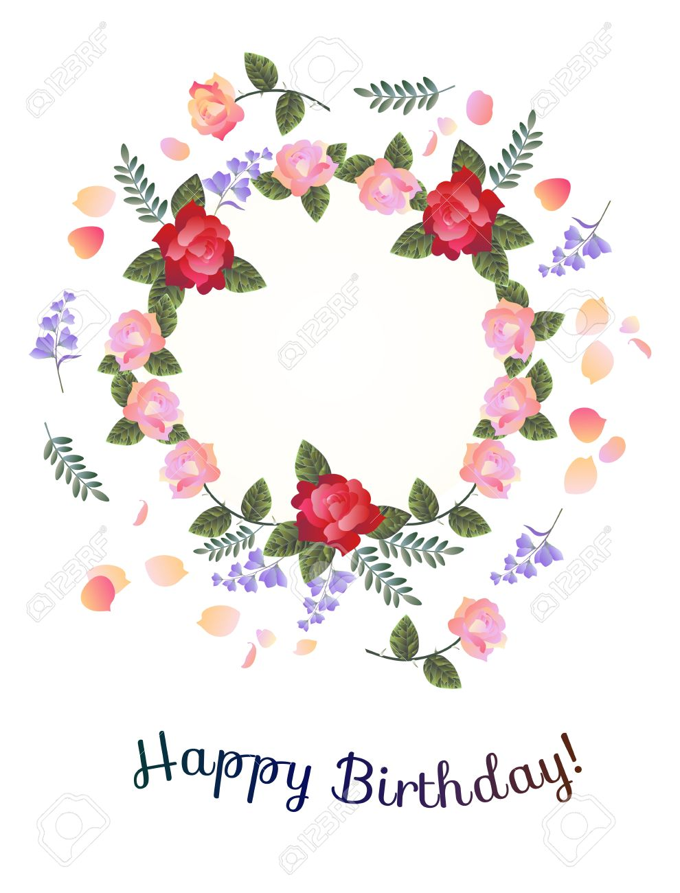 Happy Birthday Greeting Card Beautiful Floral Wreath With Red And Pink Roses Bell Flowers