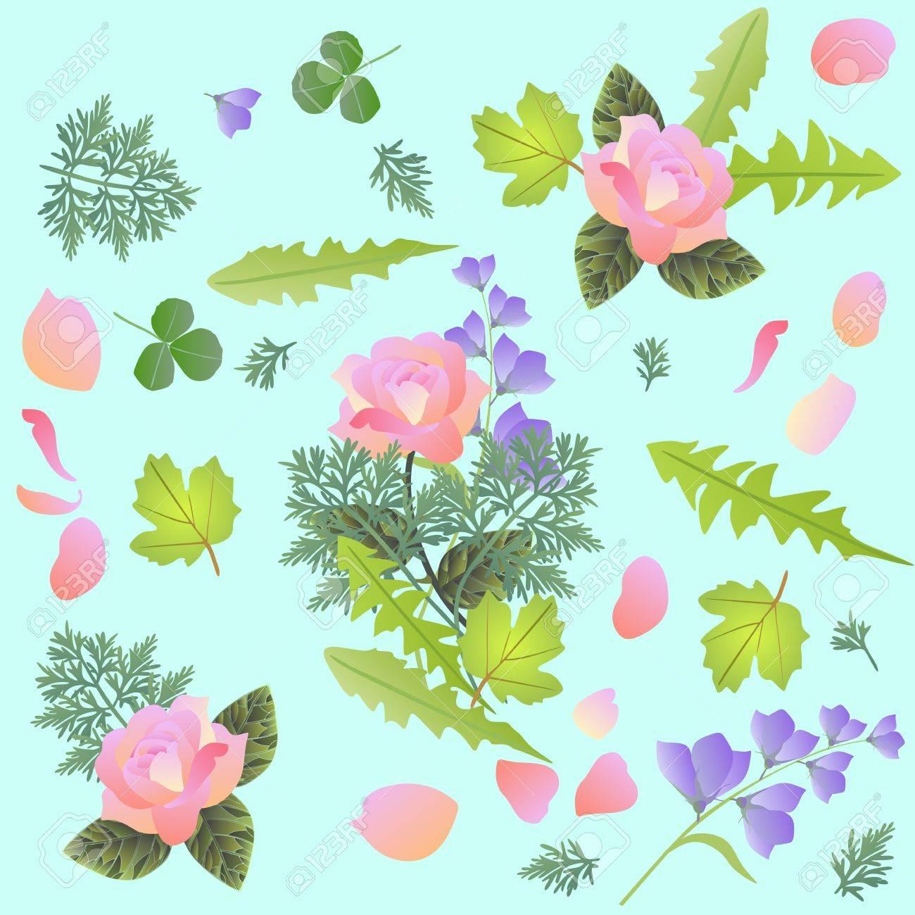 Motif Floral De Printemps Avec Bouquet De Roses Et De Fleurs De