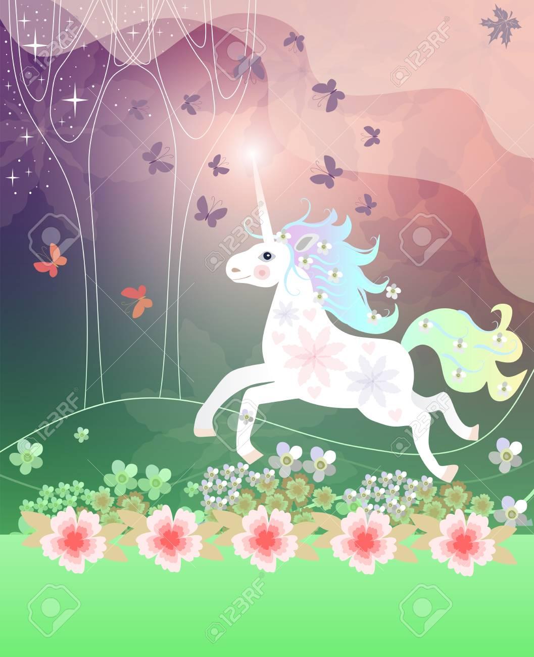 Couverture De Livre Carte De Voeux Ou Serviette Avec La Licorne Gaie Dans La Foret Magique