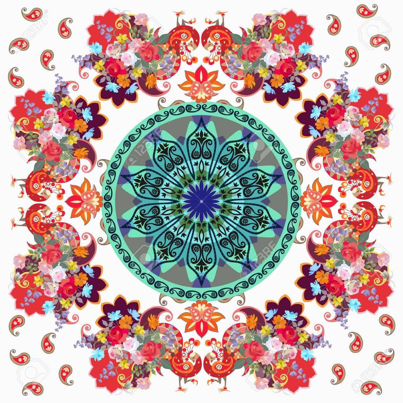 Quadratisches Dekoratives Muster Mit Mandala, Stilisierten Pfaus ...
