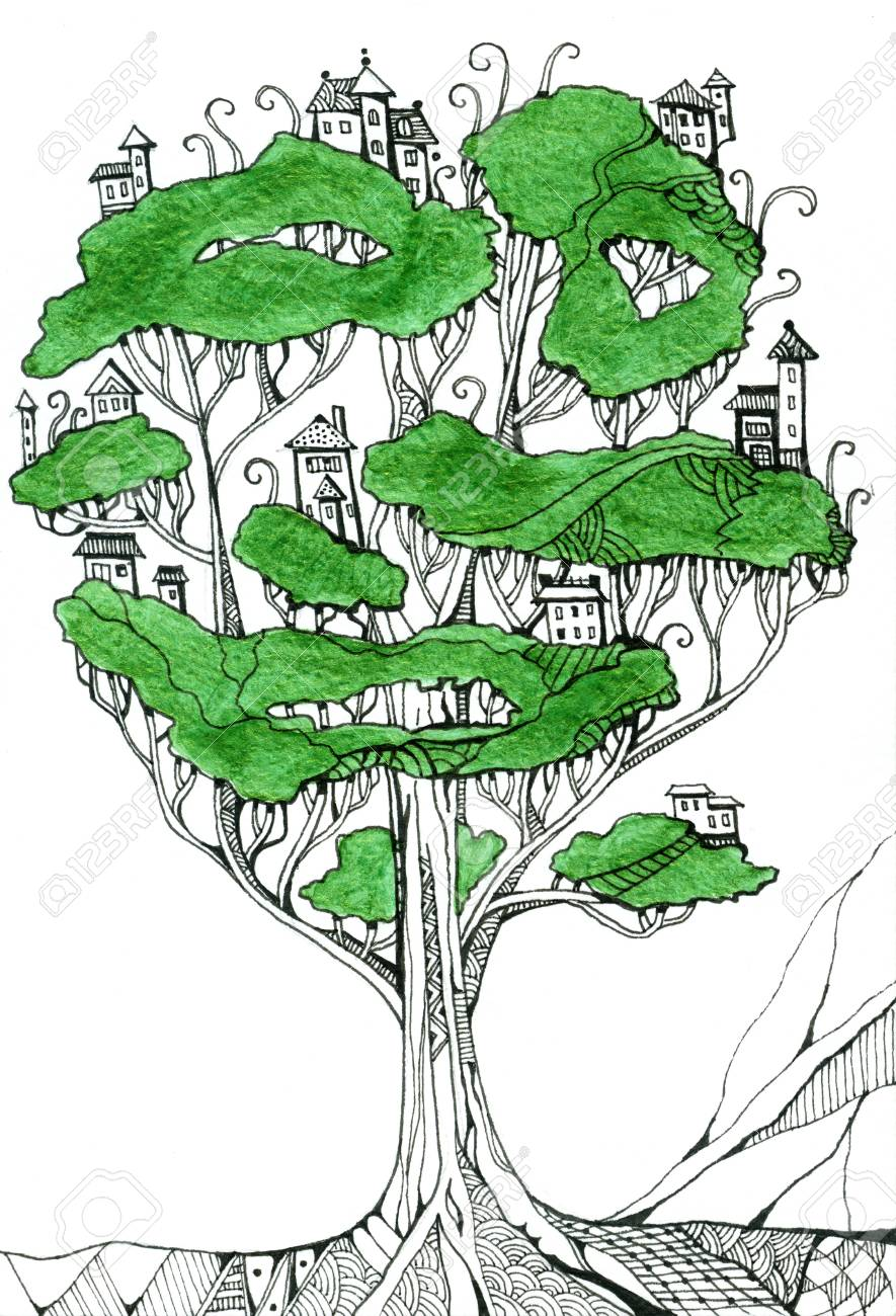 Pueblo De Elfos De Fantasía En Gran árbol. Dibujo Creativo De Casas ...