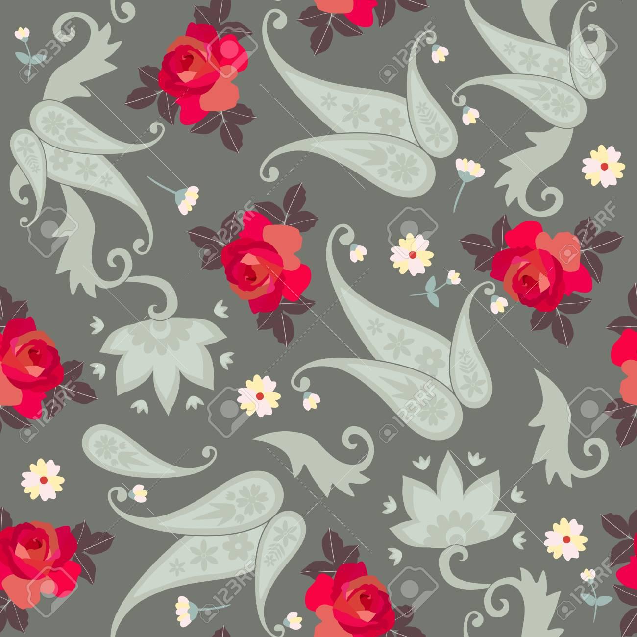 赤いバラと小さな花とヴィンテージシームレスペイズリーパターン ...