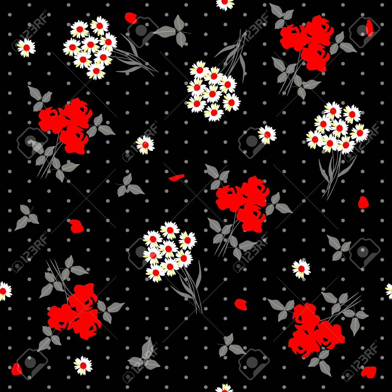 Seamless Floral Pattern With Bunch Of Daisy Flowers And Bouquets