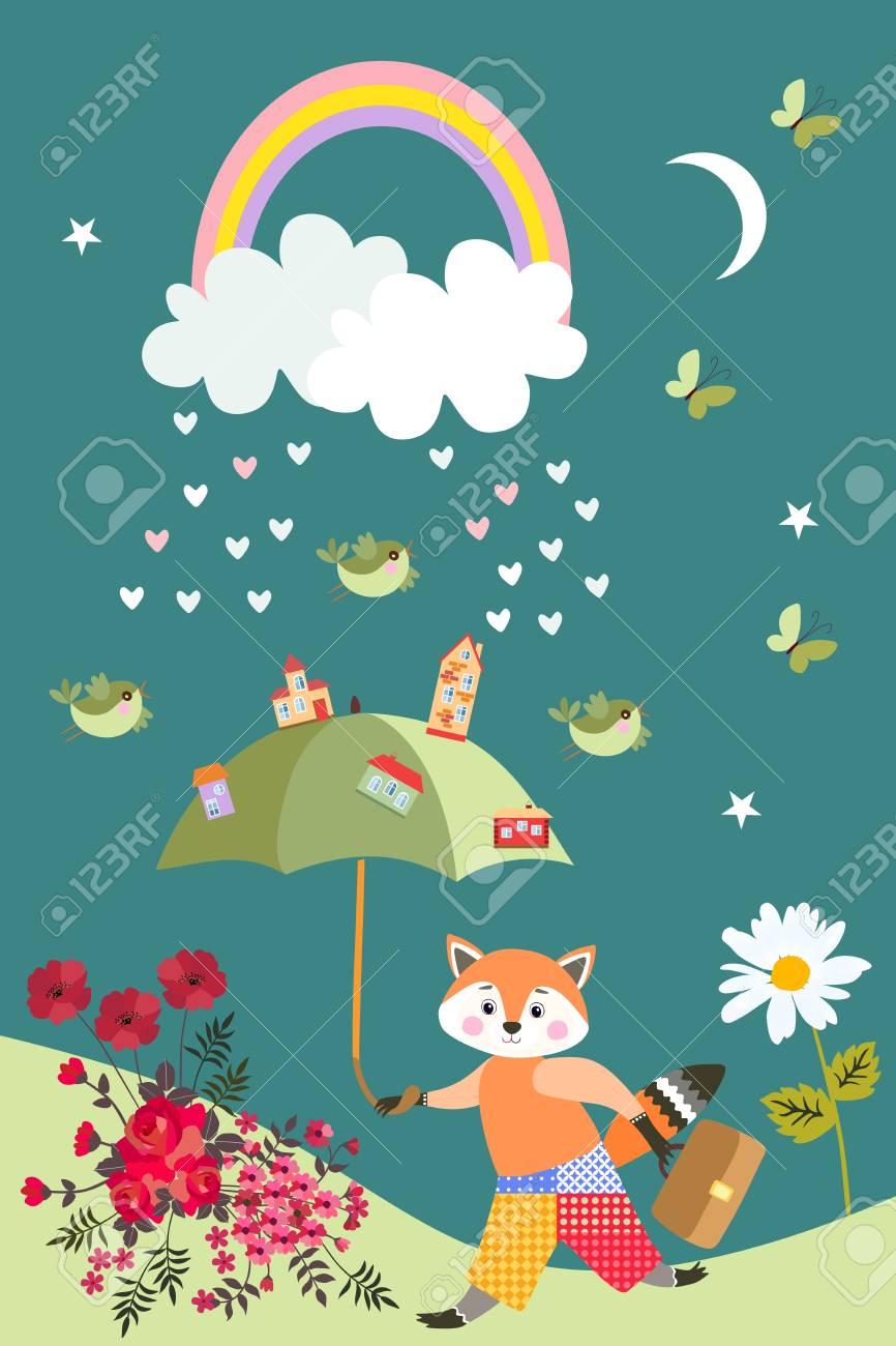 Cute little fox with fairy umbrella, birds, butterflies, flowers,