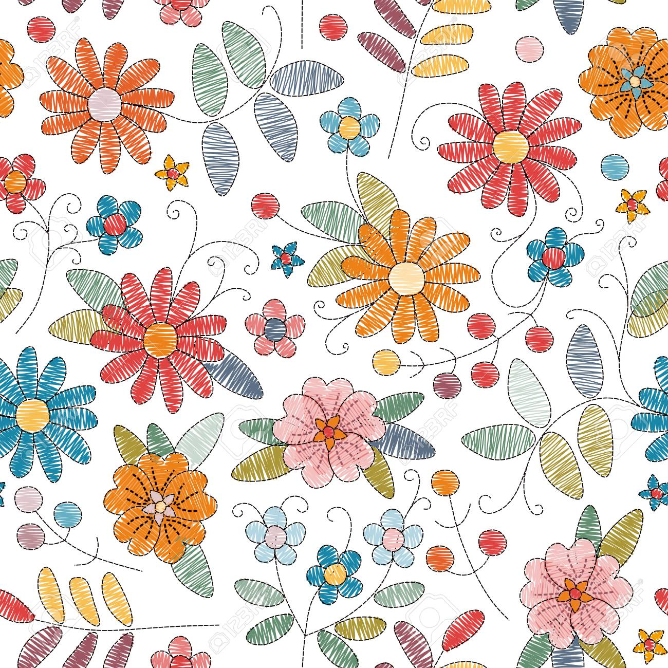 Embroidery seamless pattern with bright colorful flowers on white background. Vector illustration. - 96048803