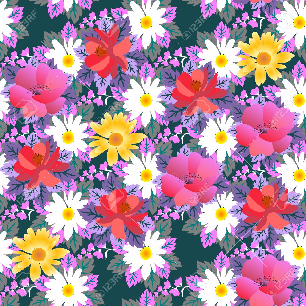 Seamless floral pattern with different type of flowers in vector seamless floral pattern with different type of flowers in vector stock vector 96594055 izmirmasajfo