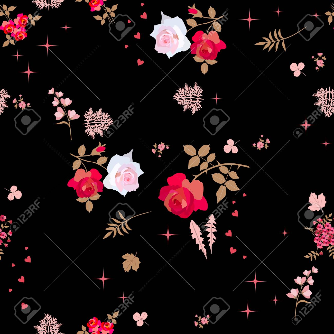 Floral Seamless Pattern Beautiful Pink And Red Flowers On Black