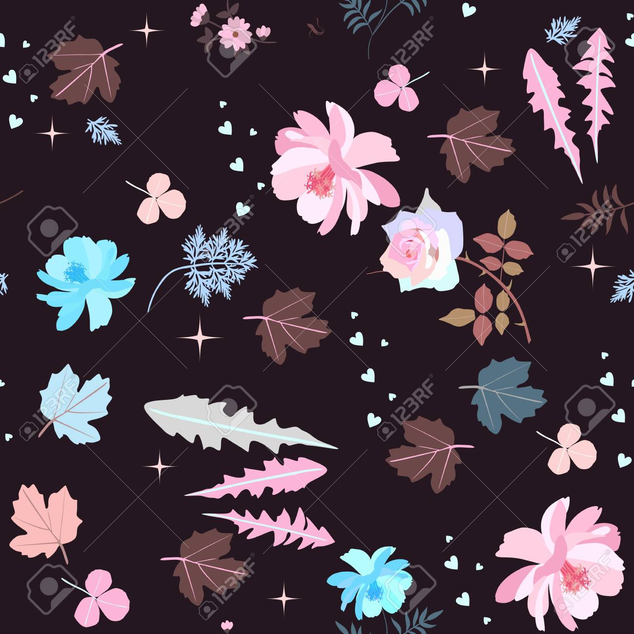 Beautiful Pink And Blue Flowers Leaves Hearts And Stars On
