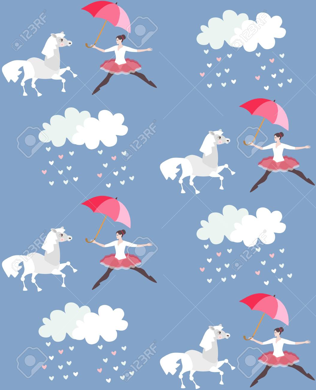 Endless Print For Fabric Or Wallpaper Funny Ballerina With Umbrella Royalty Free Cliparts Vectors And Stock Illustration Image 100807356