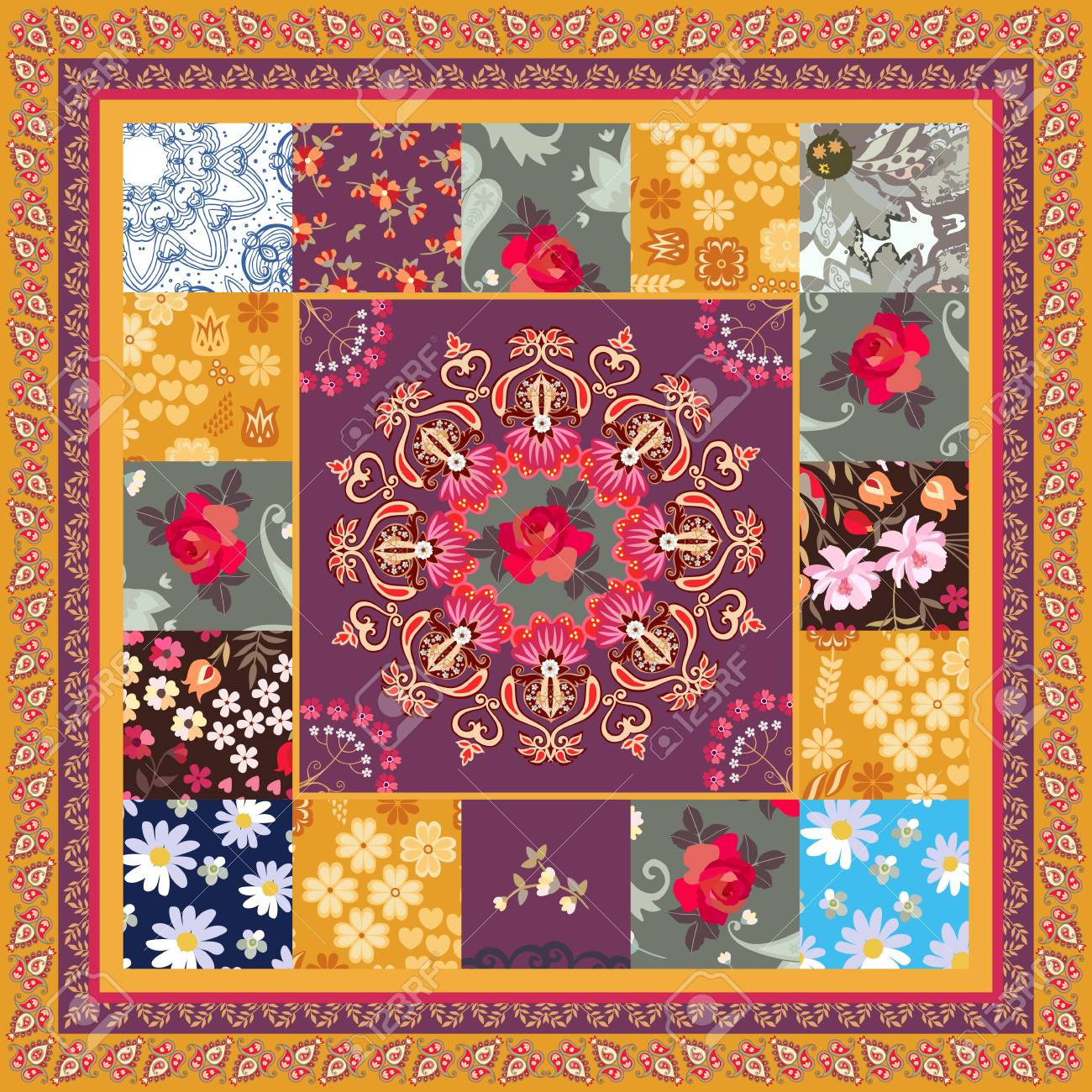 Square Patchwork Pattern With Mandala Rose Daisy Cosmos Flowers