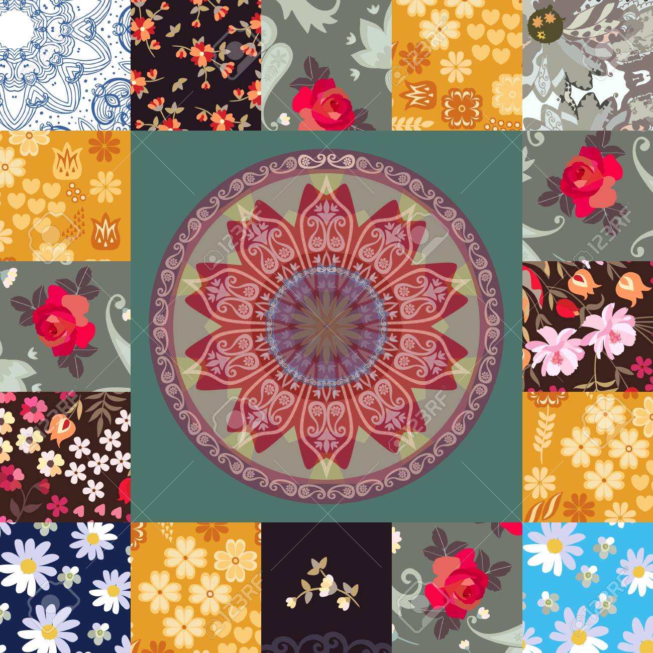 Square Patchwork Pattern With Flowers Hearts Mandala And Paisley