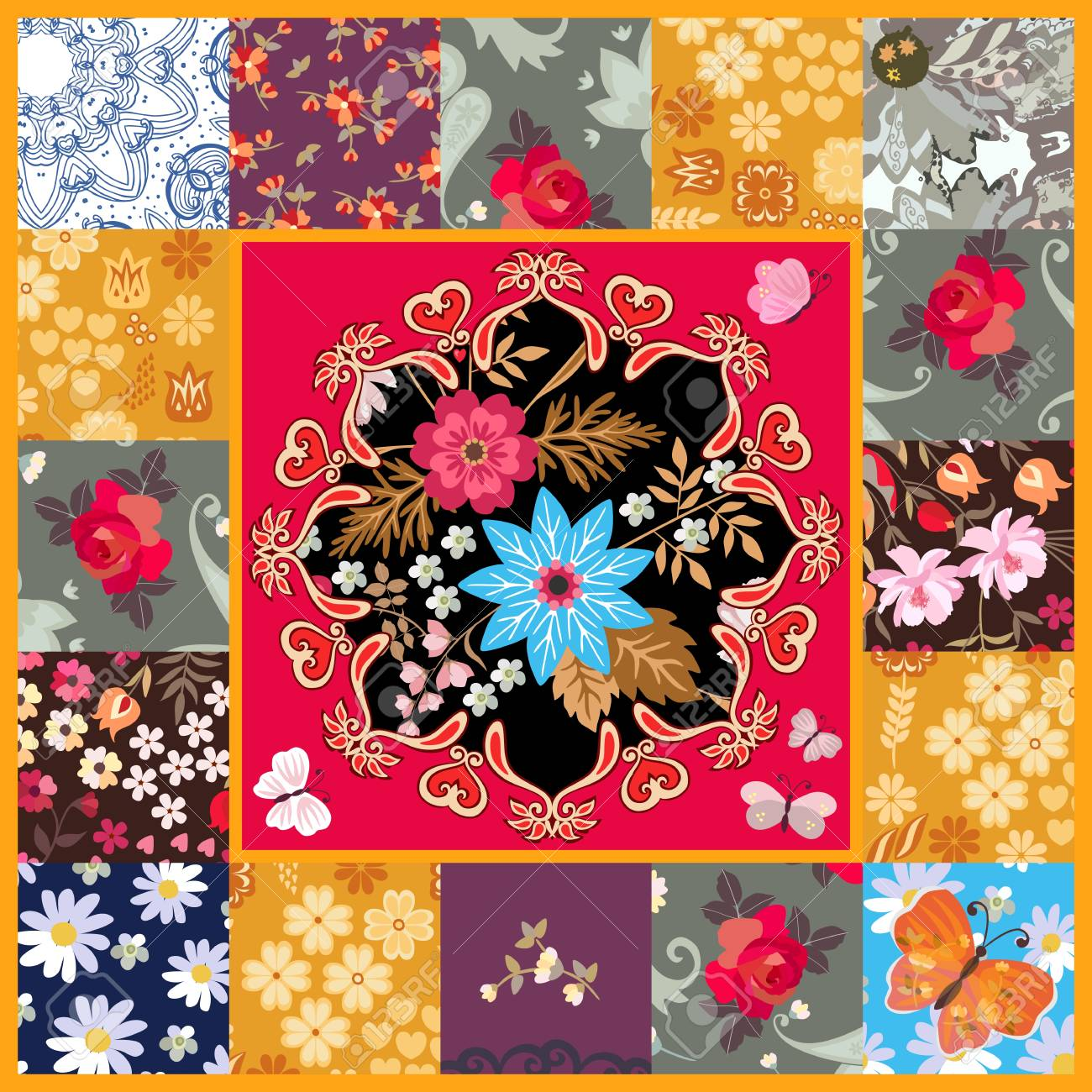Square Patchwork Pattern With Stylized Mandala On Red Background