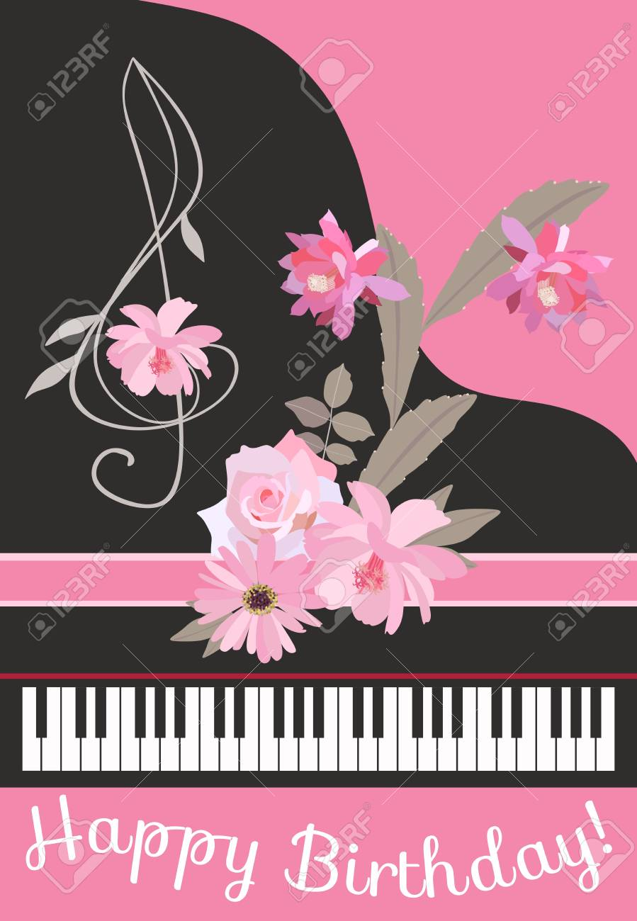 Happy Birthday Greeting Card With Concert Black Grand Piano