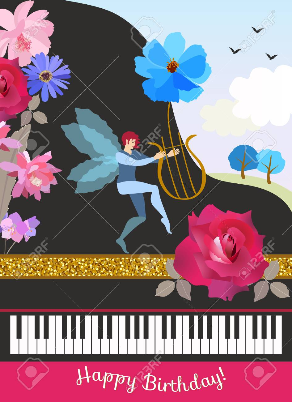 Happy Birthday Greeting Card In Vintage Style Black Grand Piano
