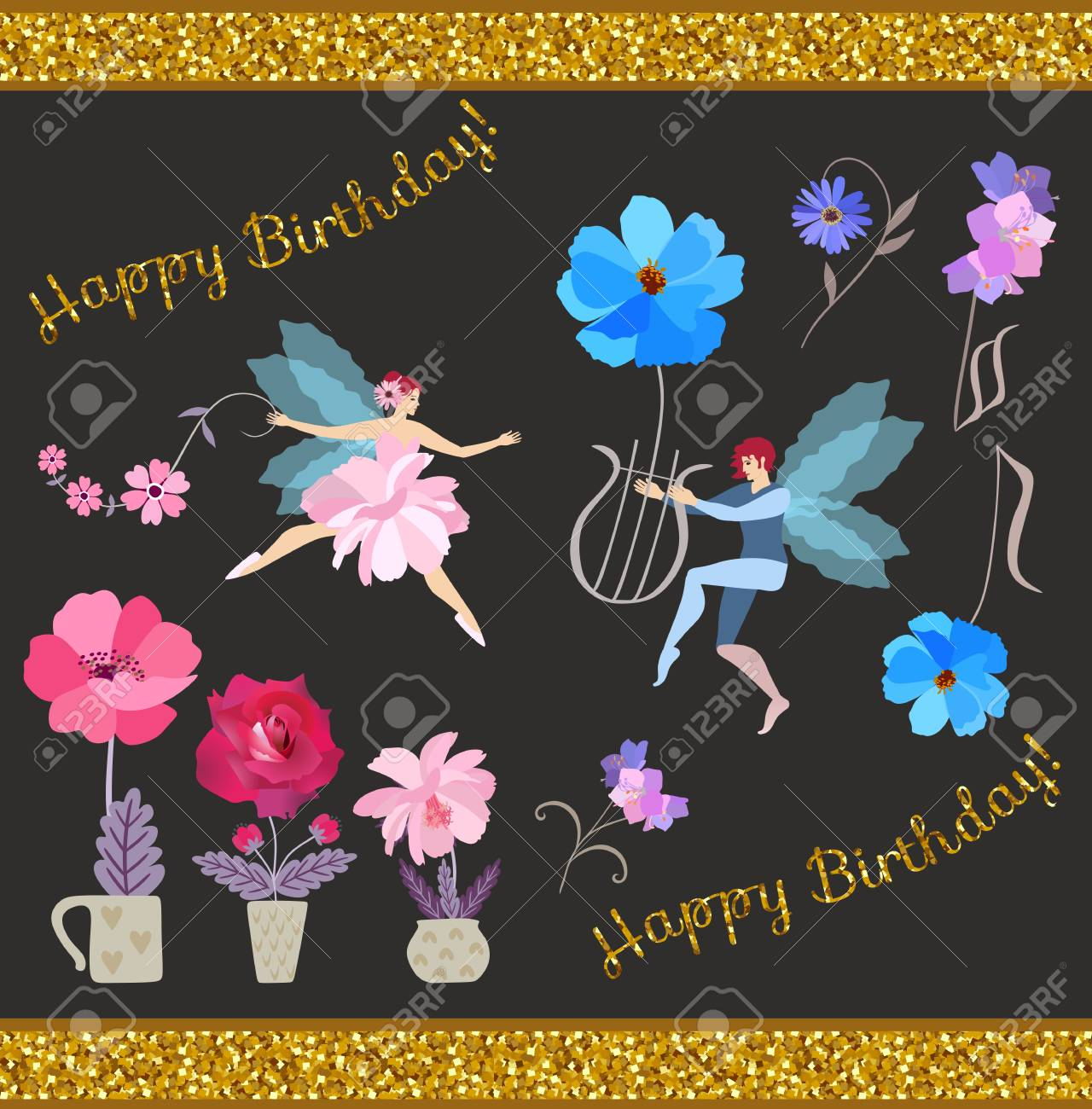 Happy Birthday Greeting Card With Winged Fairy And Elf Flowers In Flowerpots Lyre
