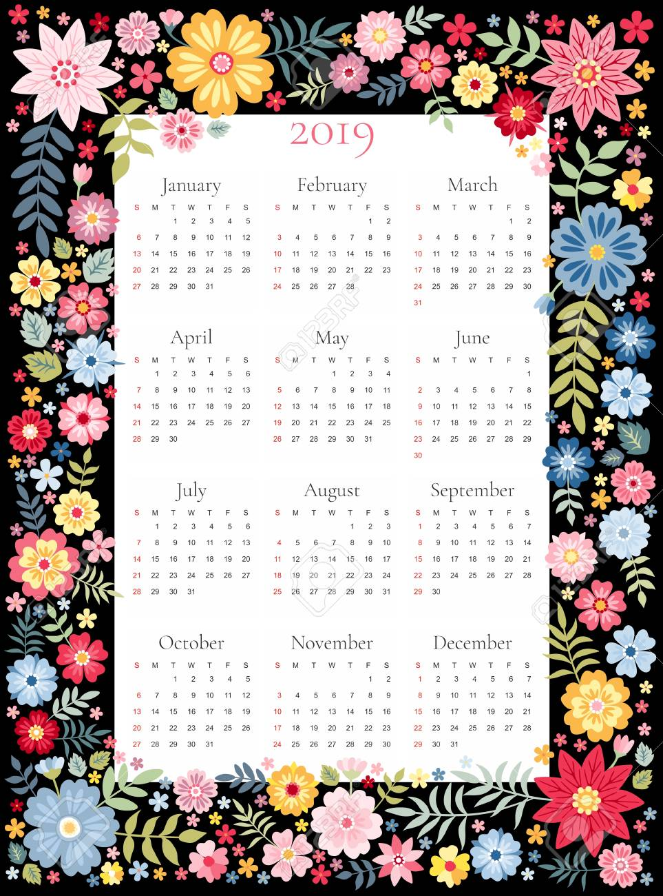 Flower Calendar 2019 Calendar For 2019 Year. Vector Template In Floral Frame With