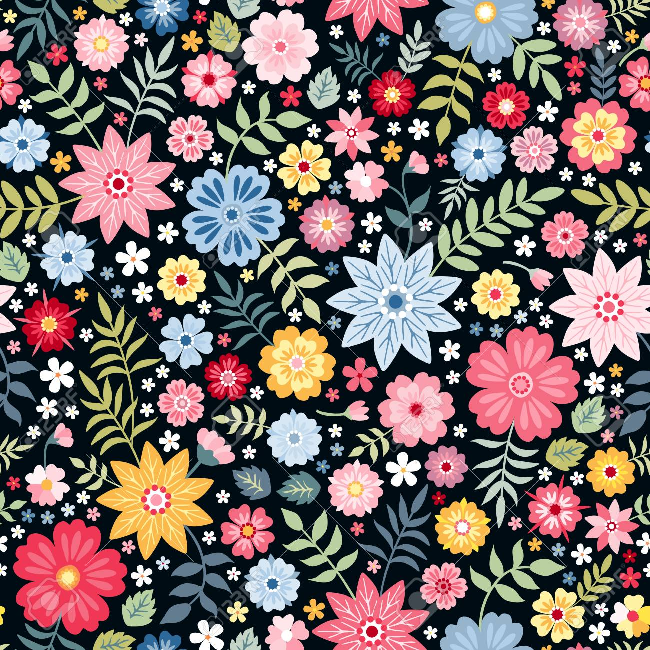 Seamless ditsy floral pattern with fantasy little flowers and leaves in folk style. Vector illustration. Print for fabric, paper, wallpaper, wrapping design. - 108438746