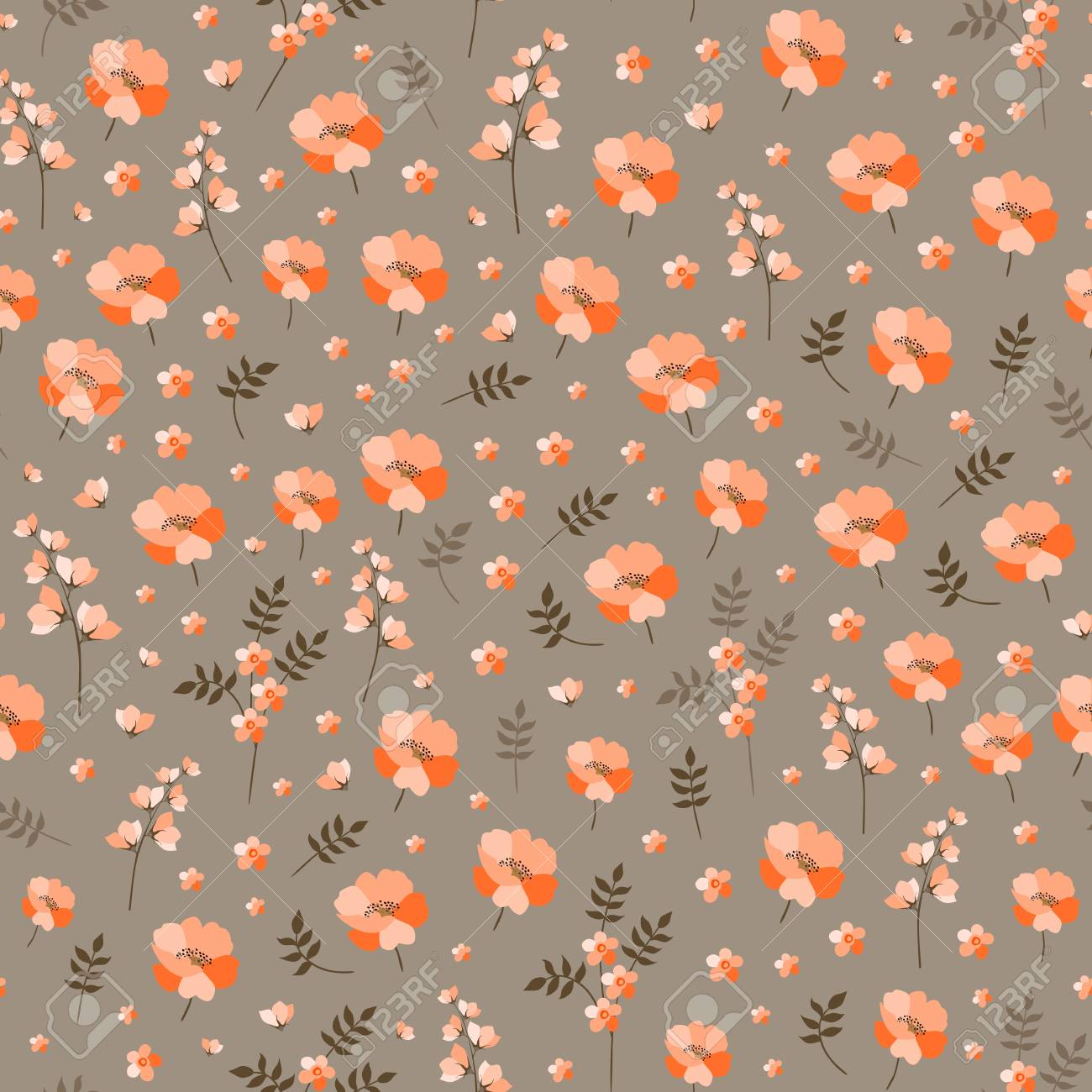 Seamless Ditsy Floral Pattern With Little Orange Flowers Vector