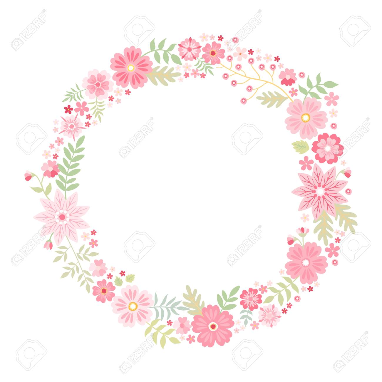 Romantic Floral Round Frame With Cute Pink Flowers Beautiful