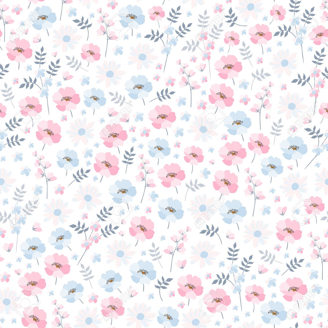 Tender Ditsy Floral Pattern Seamless Vector Design With Light