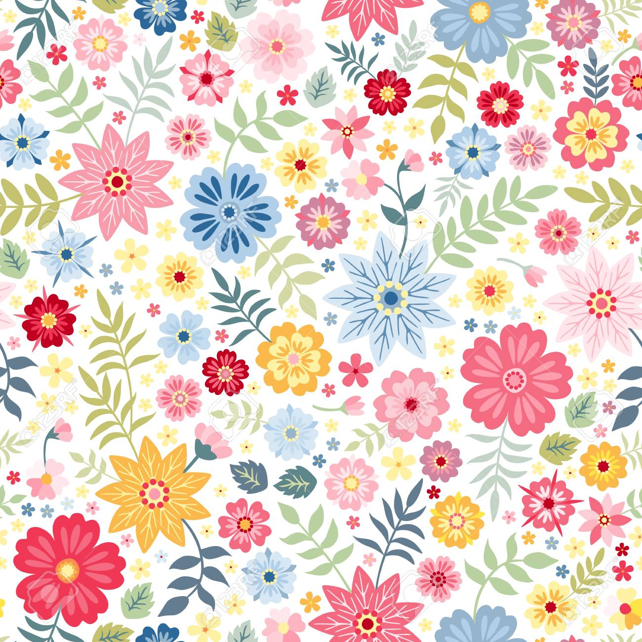 Seamless Ditsy Floral Pattern With Cute Little Flowers On White