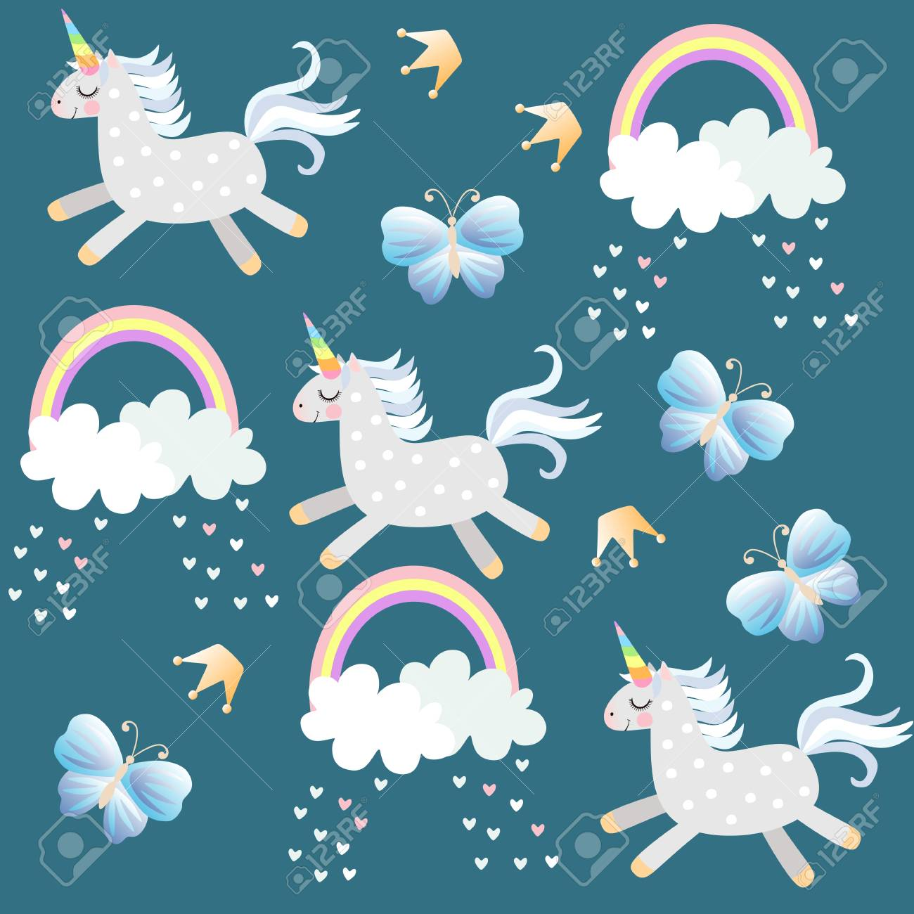 Little unicorns frolic in the sky. Butterfliea, crown, hearts, clouds and rainbow on dark emerald green background in vector. Endless pattern for baby. Print for fabric, wallpaper. - 111856877