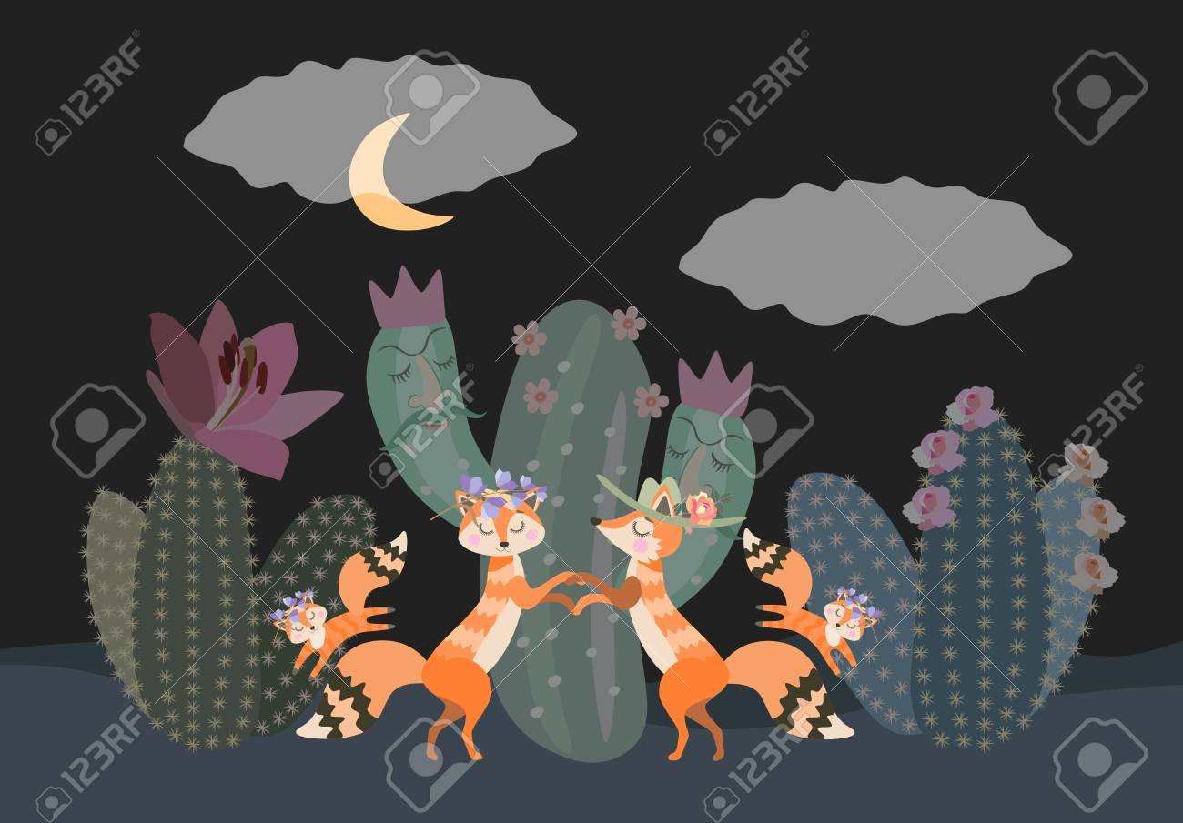 Family Of Desert Foxes Walks At Night Among The Cacti Cute