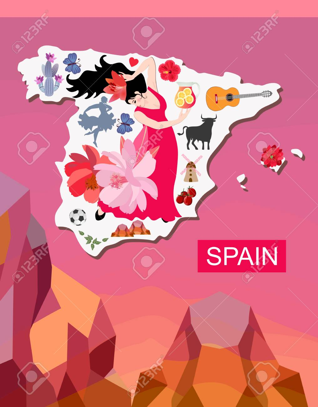 Map Of Spain Mountains.Map Of Spain With Spanish Symbols On Mountains Background Book