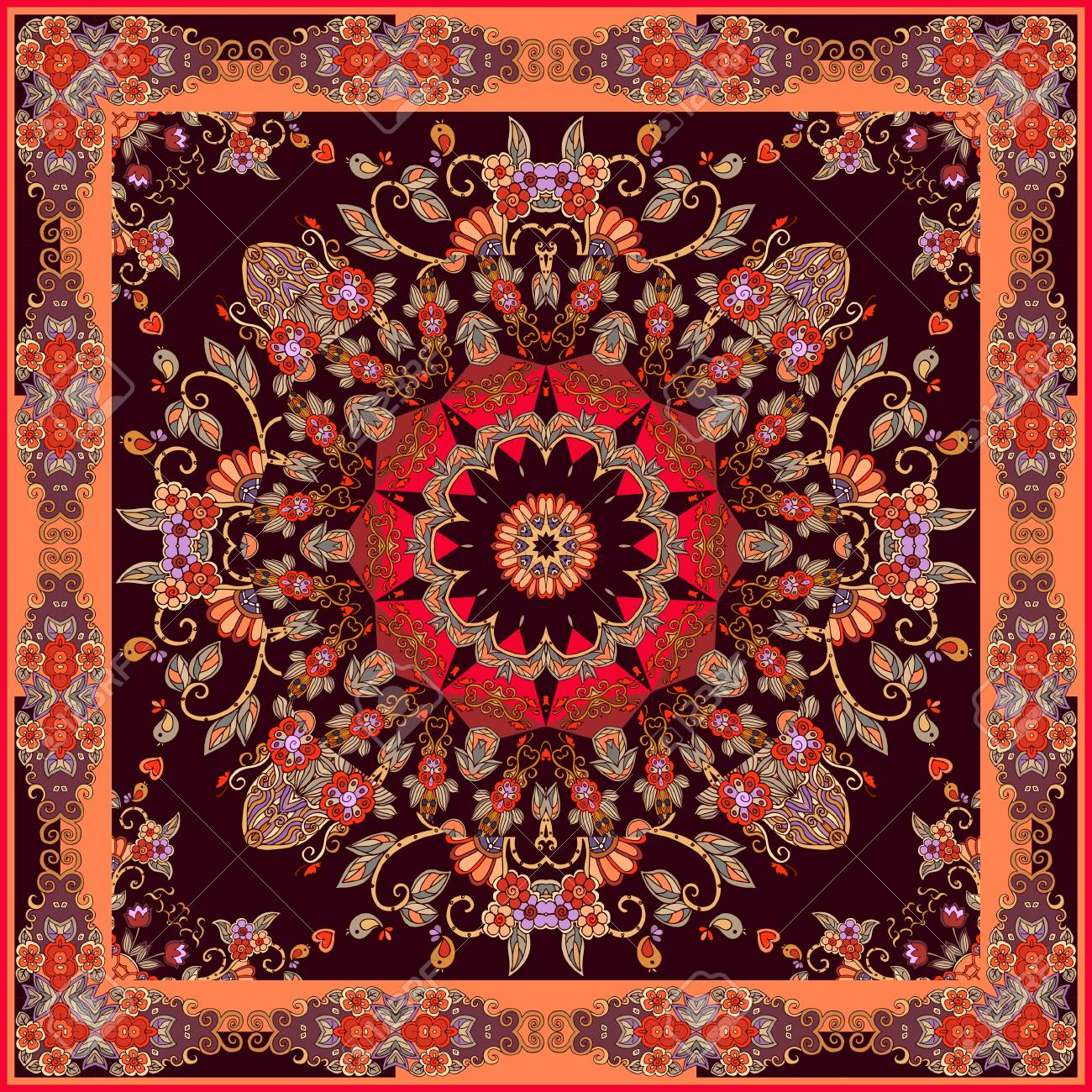 Festive bandana print with bright mandala and ornamental frame. Lovely tablecloth in oriental style. - 122553111