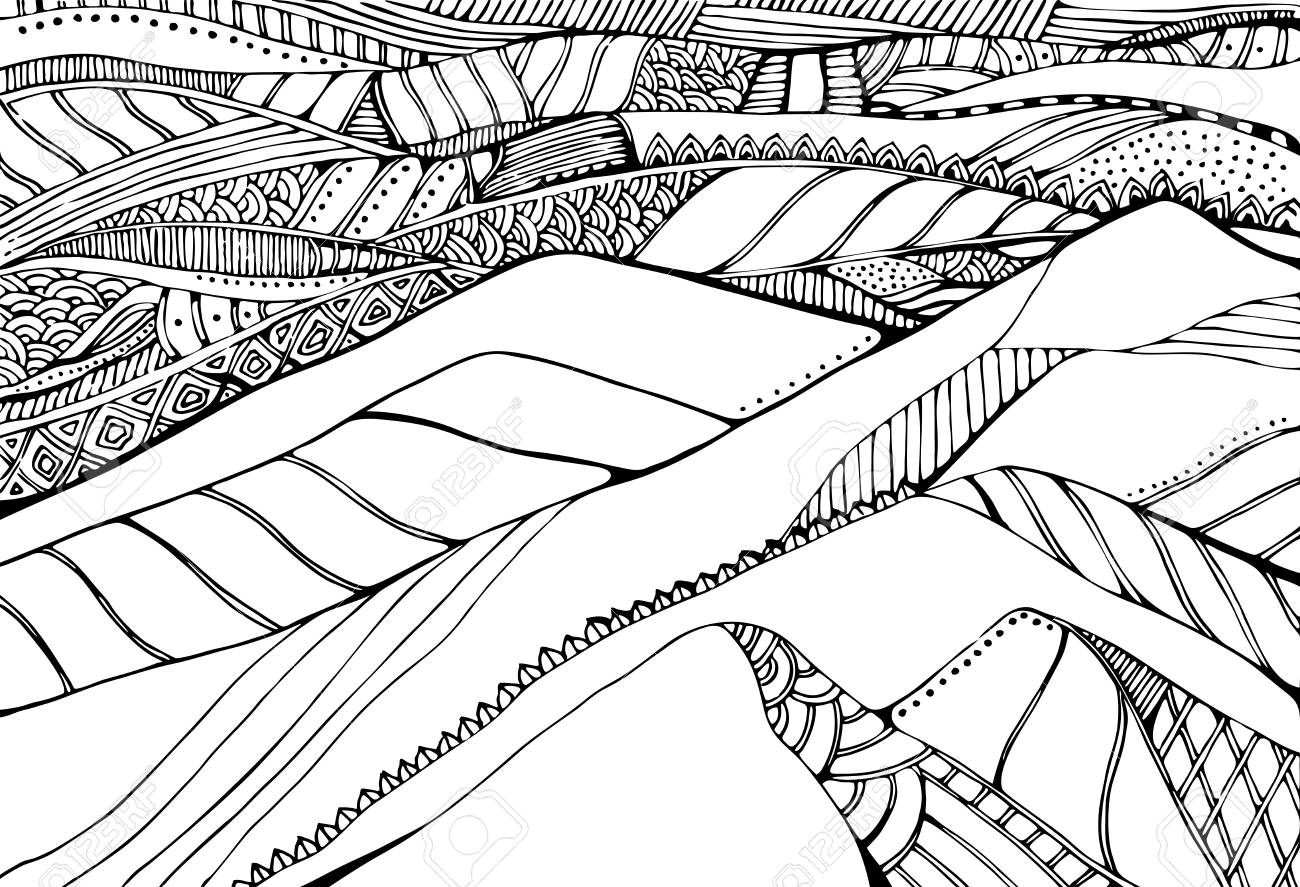 Black and white drawing of landscape with hills coloring book