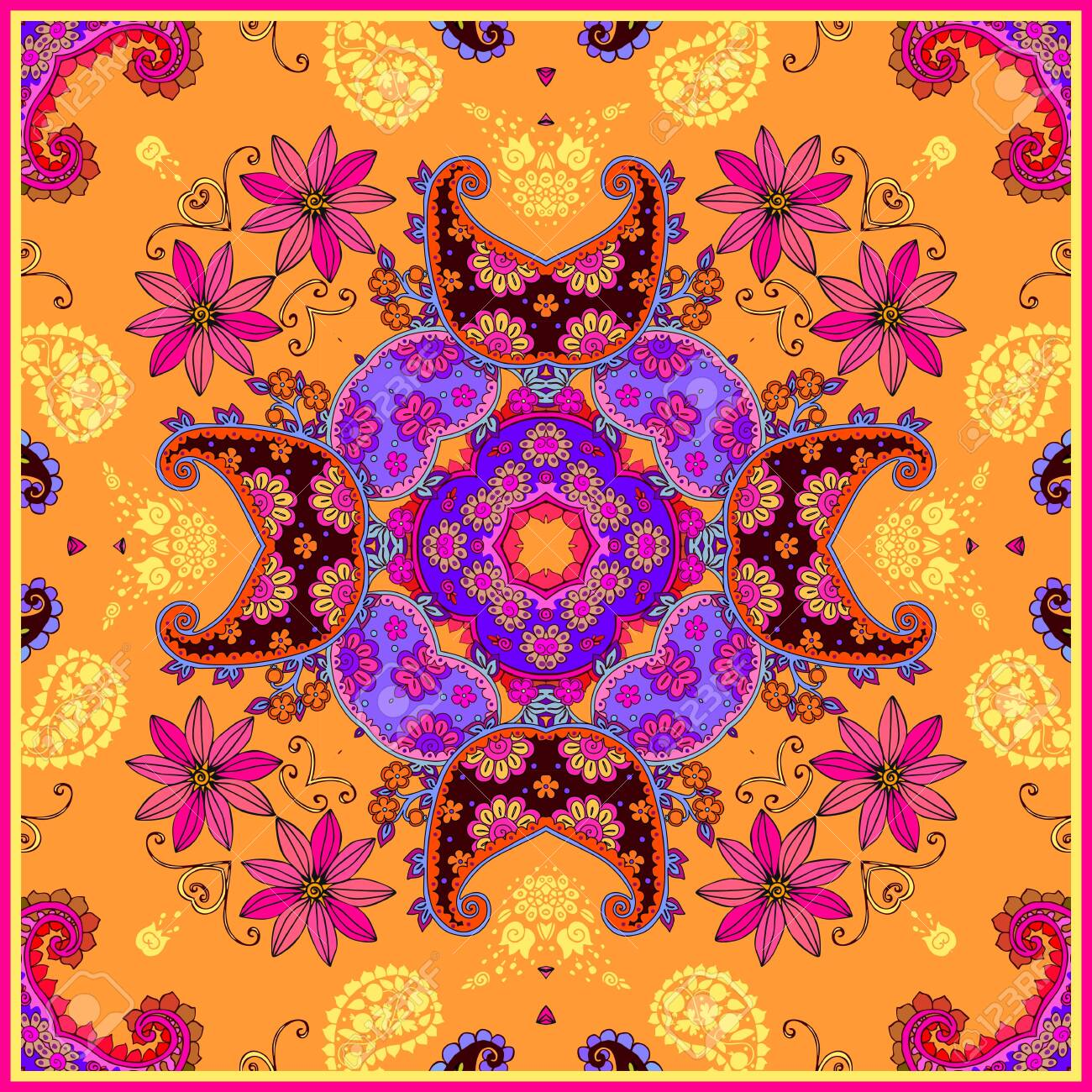 Picture of: Ethnic Square Pattern With Bright Floral And Paisley Ornament Royalty Free Cliparts Vectors And Stock Illustration Image 137889022