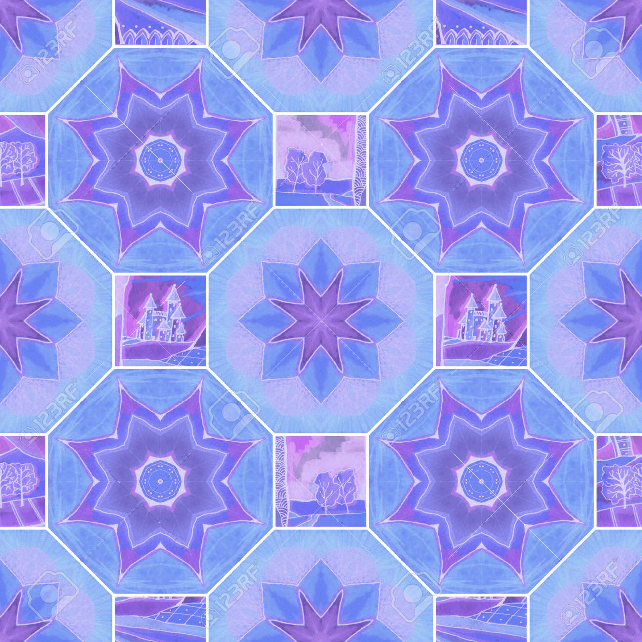 Beautiful seamless pattern with octagonal and square tiles with stylized flowers, castles and trees. Watercolor ornament in patchwork style. - 173407851