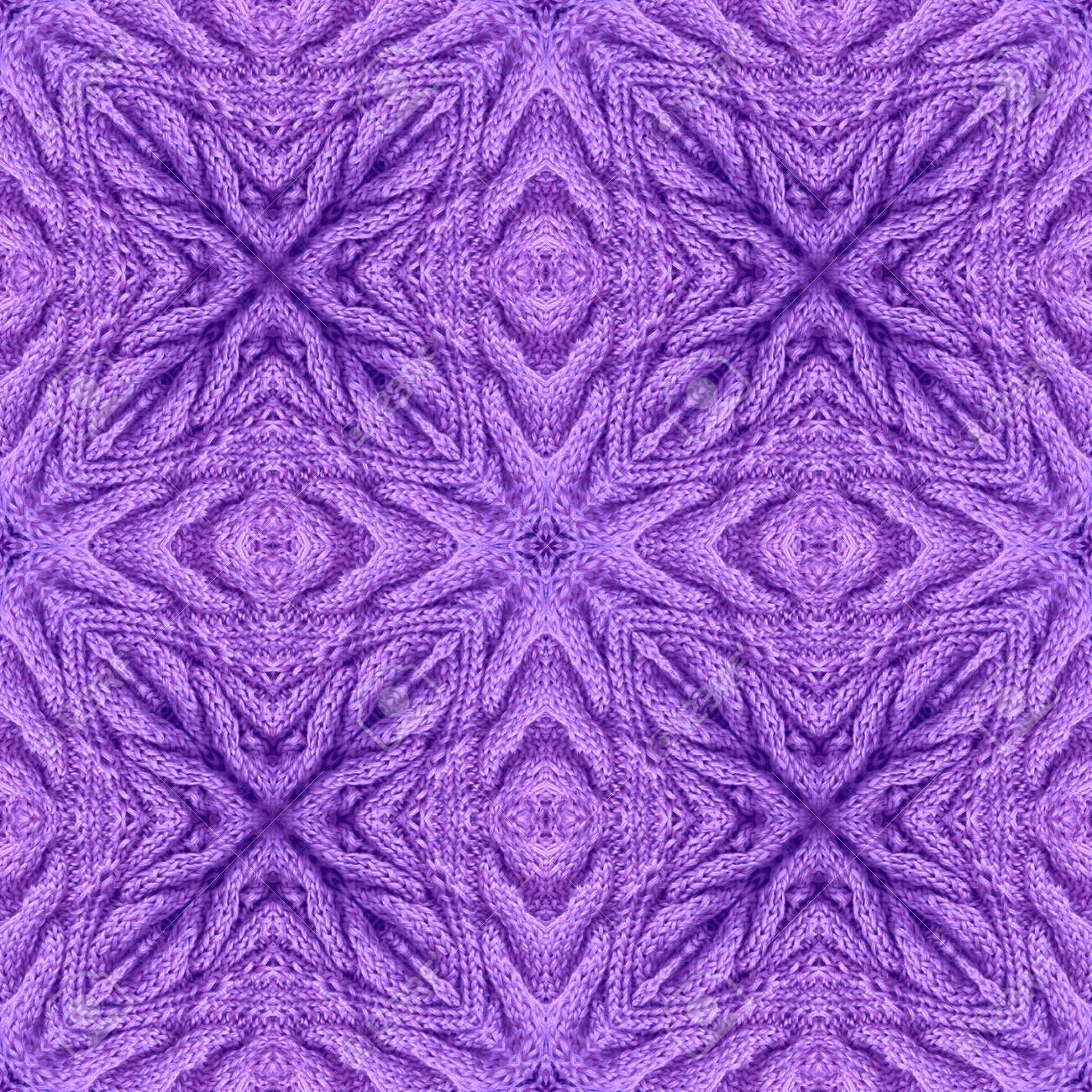 Knitted seamless pattern with relief ornament in violet colors. Print for fabric and textile. - 173407852