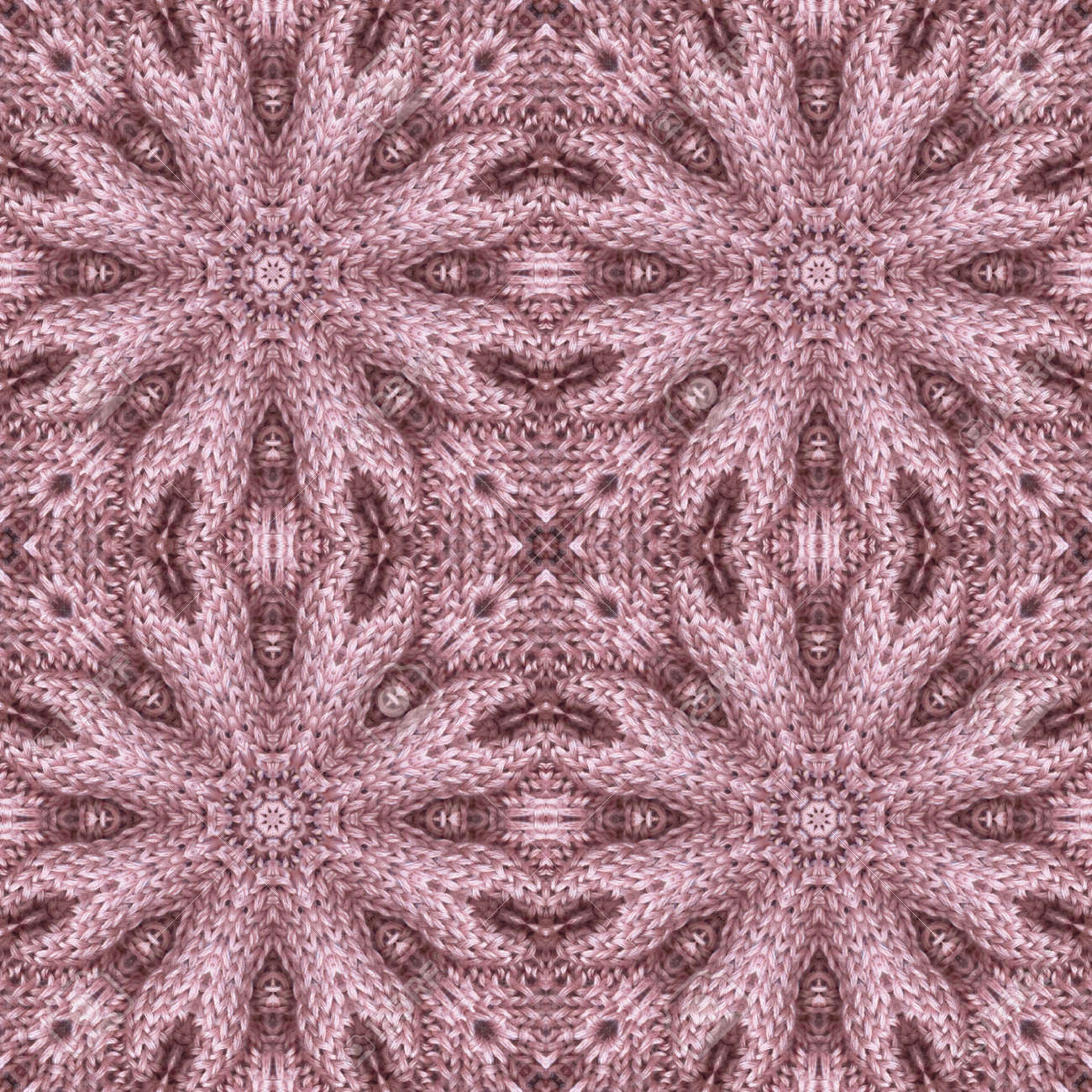 Knitted seamless pattern with relief flowers. Floral ornament in dusty pink colors. Beautiful print for fabric and textile. - 173407853