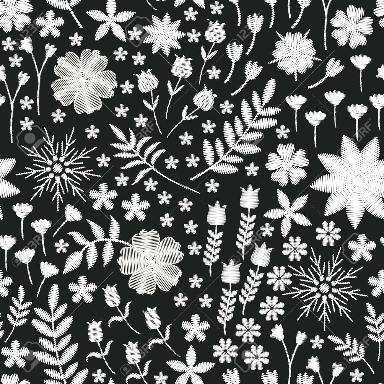 Embroidery seamless design. Beautiful pattern with white flowers on black background. Fashion print for fabric. - 173407996
