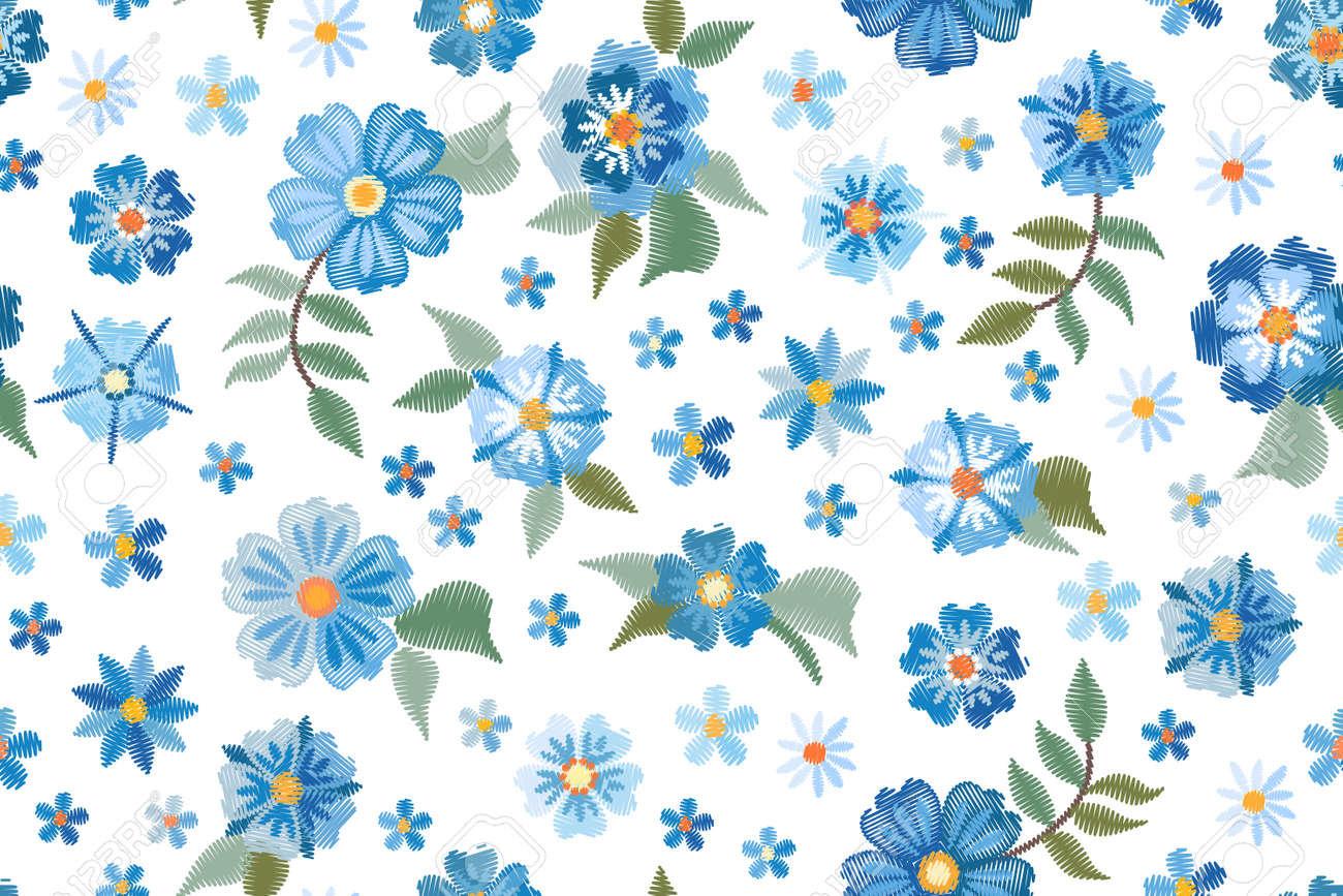 Embroidery seamless pattern with blue wild flowers on white background. Fashion design for fabric, textile, wrapping paper. Fancywork print. Vector illustration. - 173407998