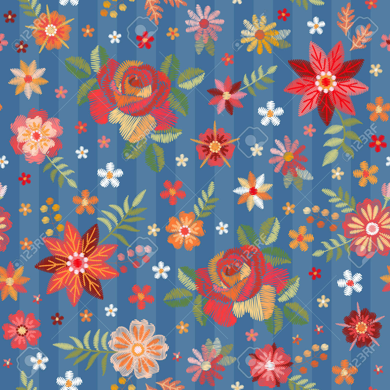 Embroidery seamless pattern with red roses and wild flowers on blue background - 173408004