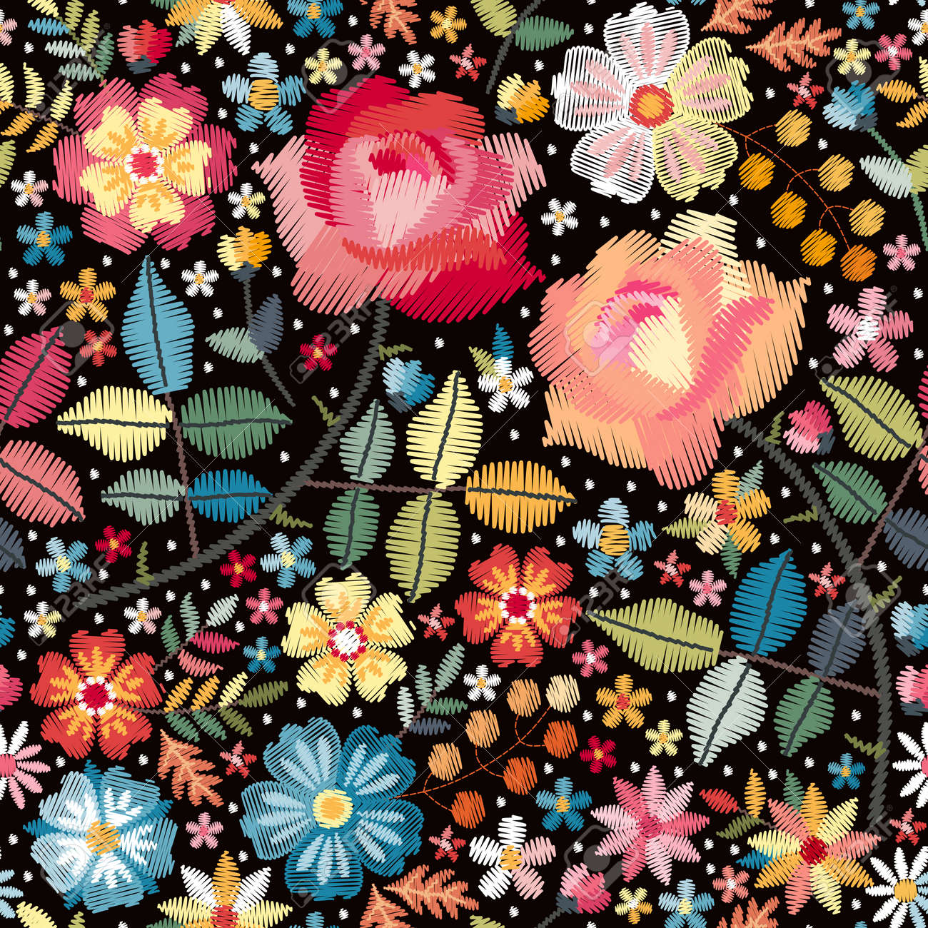 Bright colorful seamless pattern with embroidery flowers, leaves and berries on black background. Vector design. - 173408005