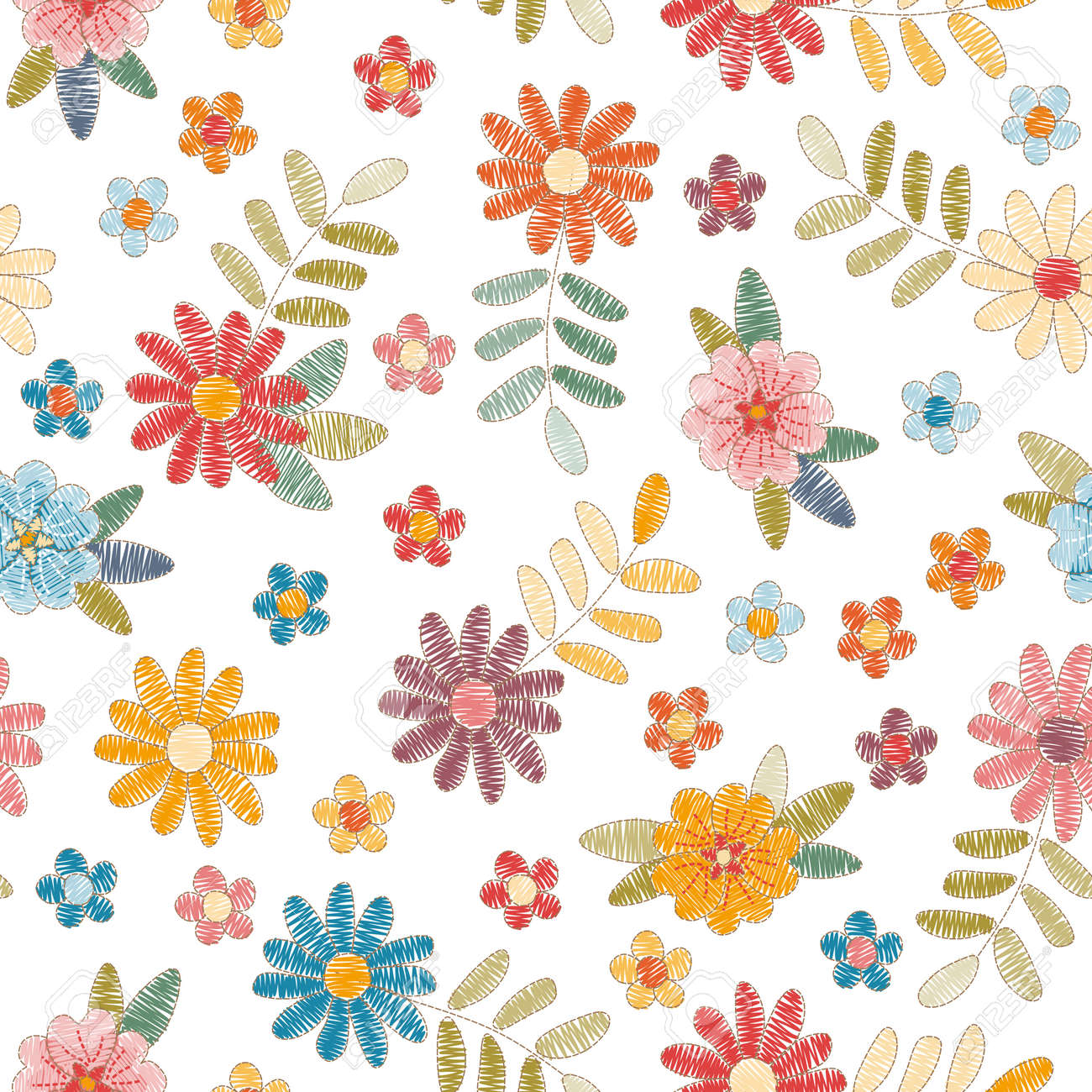 Embroidery seamless pattern with colorful flowers and leaves on white background. Summer print. Fashion design. Vector embroidered illustration. - 173408008