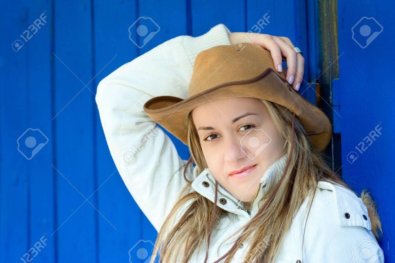 Cowboy girl posing outside Stock Photo - 585517