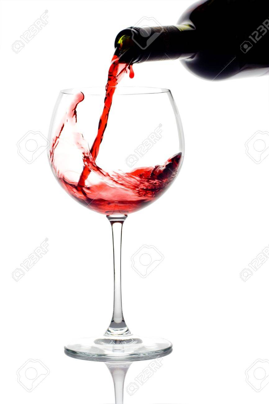 Red wine pouring down from a wine bottle against white background Stock Photo - 700132