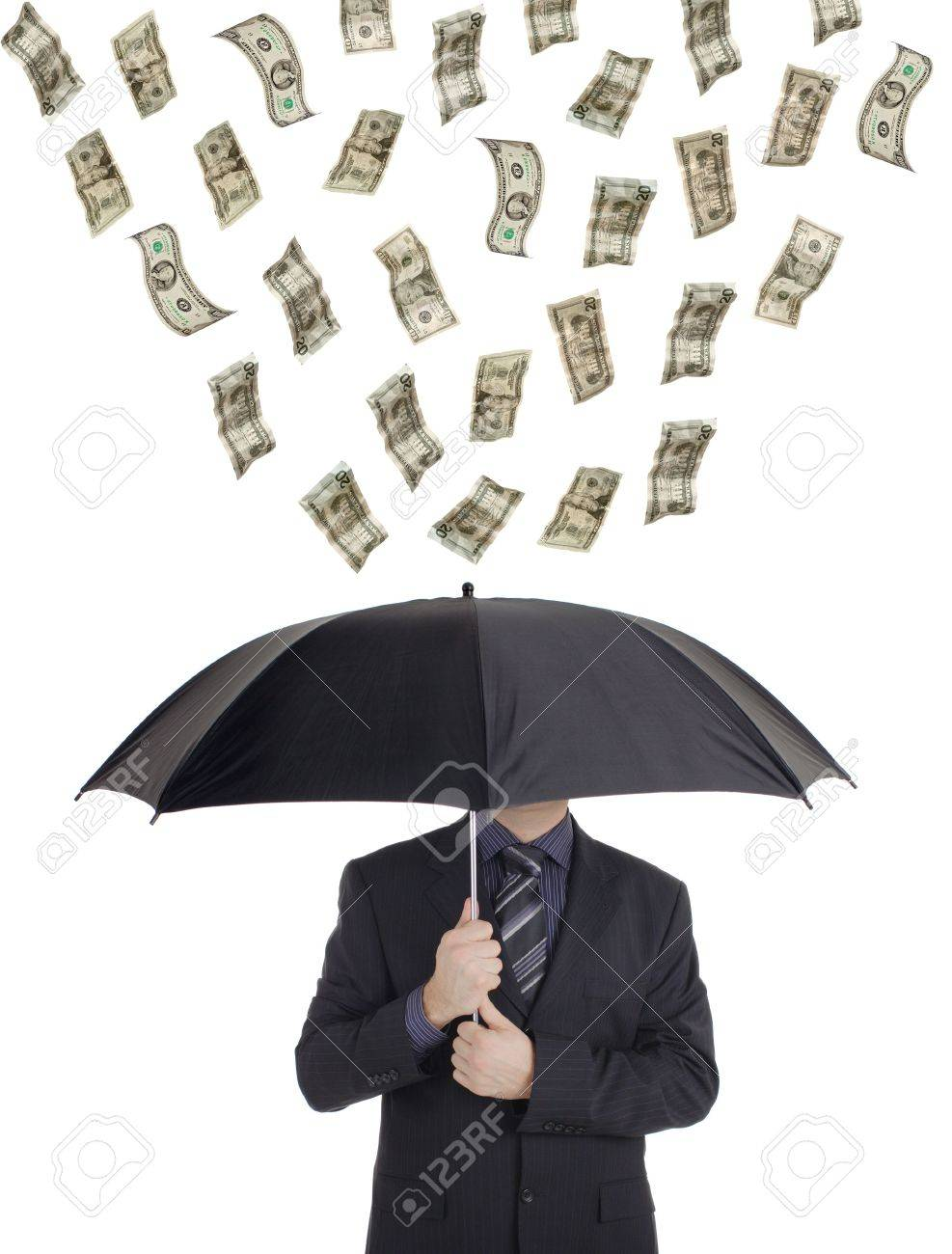 Money Raining Down On A Person With An Umbrella Stock Photo Picture