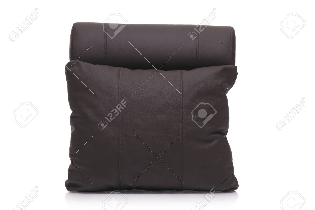 Black leather pillow isolated against white background Stock Photo - 3967483
