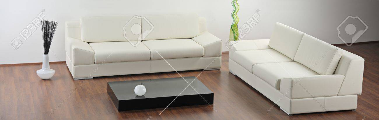A Modern Minimalist Living-Room With White Furniture Stock Photo