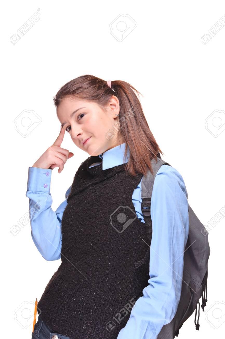 Pensive female teenage student isolated against white background Stock Photo - 5652111