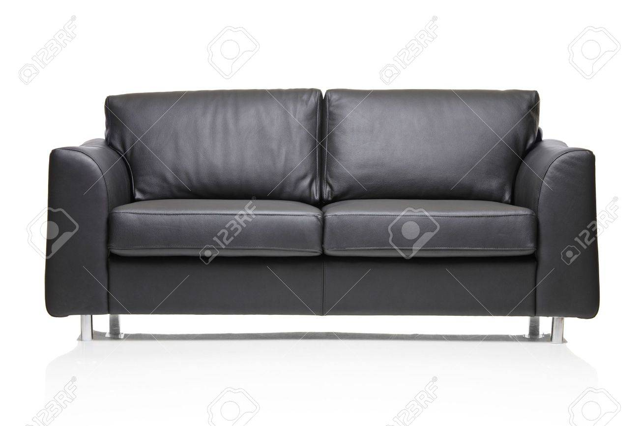 Image Of A Modern Black Leather Sofa Over White Background Stock ...